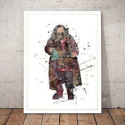 Harry Potter Hagrid Watercolour Nursery Decor Art Poster Print - A4 to A0 Framed