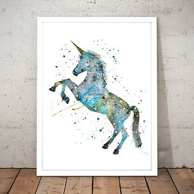 Unicorn Watercolour Nursery Decor Art Poster Print - A4 to A0 Framed