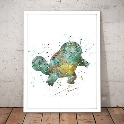 Pokemon Squirtle Watercolour Nursery Decor Art Poster Print - A4 to A0 Framed