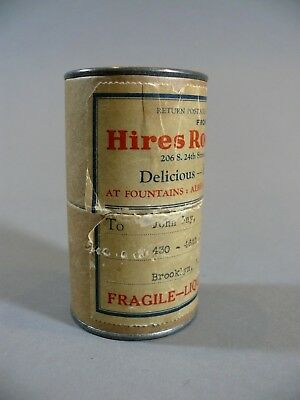 Original 1920s HIRES ROOT BEER Syrup Cardboard Container Small Advertising Tin