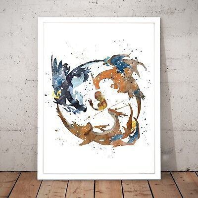 Pokemon Charmander Evolution Watercolour Nursery Decor Art Poster Print A4 to A0