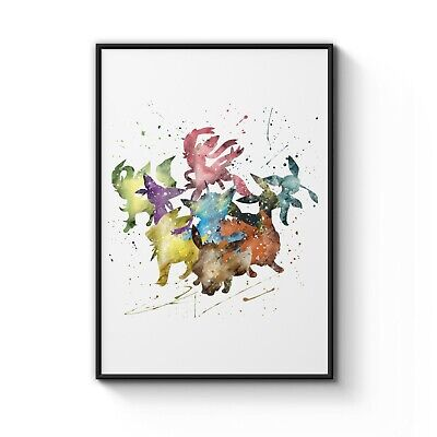 Pokemon Team Watercolour Nursery Decor Art Poster Print - A4 to A0 Framed
