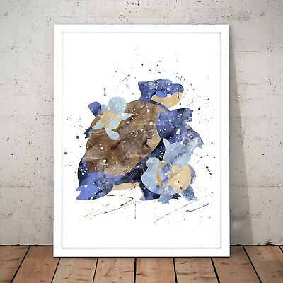 Pokemon Blastoise Watercolour Nursery Decor Art Poster Print - A4 to A0 Framed