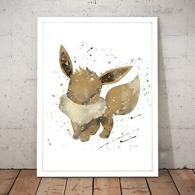 Pokemon Eevee Watercolour Nursery Decor Art Poster Print - A4 to A0 Framed