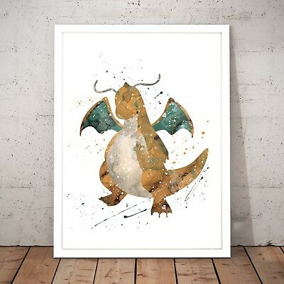Pokemon Dragonite Watercolour Nursery Decor Art Poster Print - A4 to A0 Framed