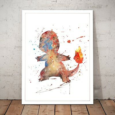 Pokemon Charmander Watercolour Nursery Decor Art Poster Print - A4 to A0 Framed