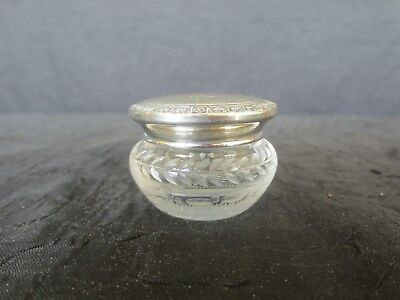 Vintage International Sterling Silver & Etched Glass Powder Jar, Small, Great