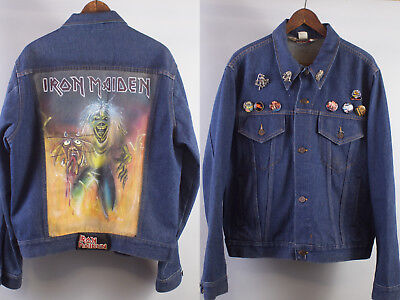 VTG 70s 80s Hand Painted IRON MAIDEN Denim Jean Jacket w/ Buttons Pins Patch L