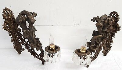 Awesome Pair of Antique Bronze Gargoyle Ornate Wall Sconces w/ Prisms