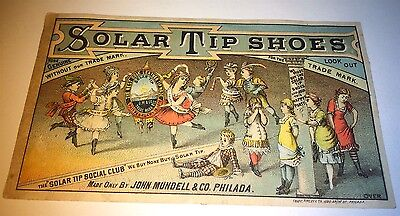 Antique Victorian American Solar Tip Shoes! Advertising Lithograph Trade Card!