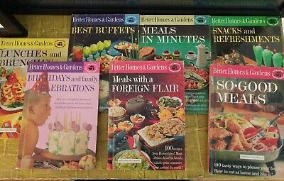 Vintage Cookbook Lot Better Homes & Gardens Creative Cooking Library MCM 7 Books
