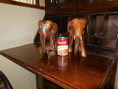 Vtg Hand Carved Wooden Elephants 3 Piece Family Set Thailand Hammered Silver Tin