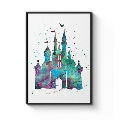 Disney Princess Castle Watercolour Nursery Decor Art Poster Print A4 - A0 Framed