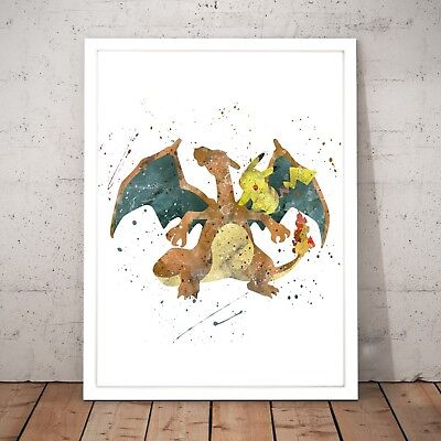 Pokemon Charizard Watercolour Nursery Decor Art Poster Print - A4 to A0 Framed