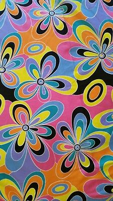 Vintage GABERDINE fabric1960s FLOWER POWER fabric STRIKING colourful FLORAL