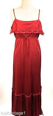 VINTAGE 70s deep CHERRY RED  lace ruffle STRAPPY boho MAXI DRESS 10