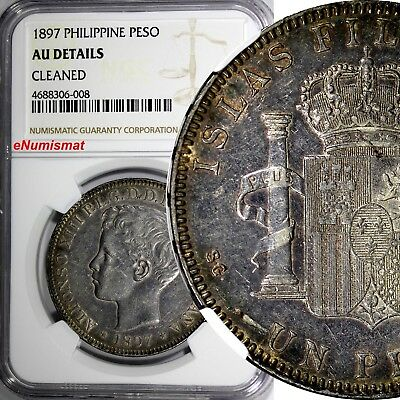 Philippines Alfonso XIII Silver 1897 SGV 1 Peso NGC AU DETAILS 1 YEAR TYPE KM154