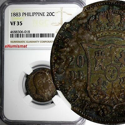 Philippines Alfonso XII Silver 1883 20 Centimos NGC VF35 RAINBOW SCARCE KM149