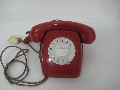 Traditional Vintage 1970s 1980s Red Rotary Phone PMG 801 GREAT CONDITION