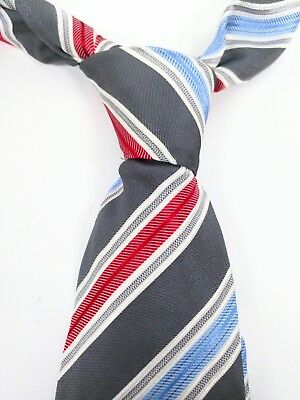 """HUGO BOSS Made In Italy Red Blue Diagonal Striped 100% Silk Neck tie 59"""""""
