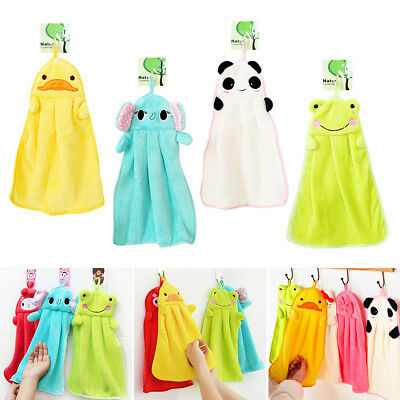 Cute Animal Hand Towels Cartoon Hanging Baby Face Kids Washcloth Bath Water Dry