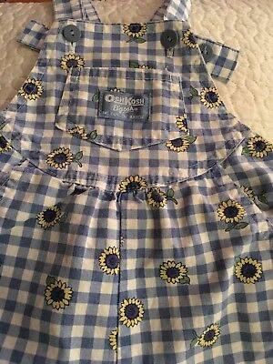 Vintage Osh Kosh Overalls Blue Check with sunflowers Made In The USA 3T