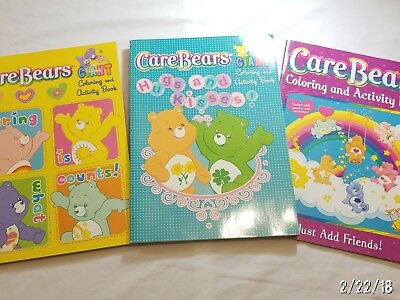 Care Bears (2) Giant Hugs and Kisses Coloring Activity Books and (1) MORE BOOK!