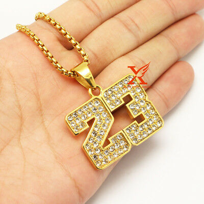 "Hip Hop Iced Out Stainless Steel Gold Plated Bling Number 23 Box Chain 24"" 3mm"