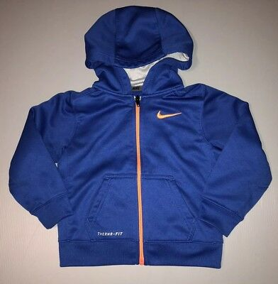 Toddlers NIKE Therma-Fit Zip Up Hoodie Jacket Coat Blue Orange Sz 3T Long Sl