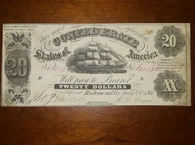 $20 T-9 Confederate (CSA) 1861 VERY RARE..-P- Stamp!  Excellent Civil War Note.