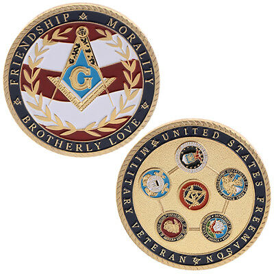 New Freemasons Military Commemorative Coin Collection Art Gifts Souvenir Golden