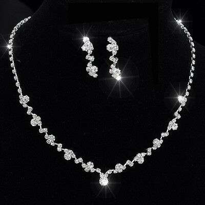 Prom Wedding Bridal Crystal Tennis Choker Necklace Set Earrings