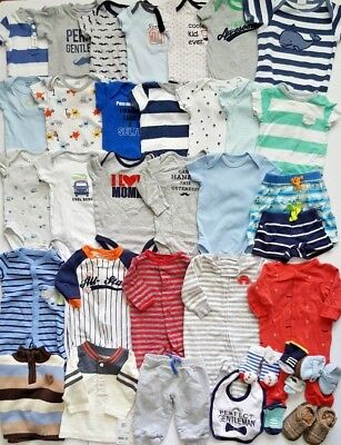 Large Lot 36+ Pieces Baby Boy Newborn 0-3-6 Months Clothes Carter Outfits