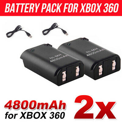 2x Battery Charger Pack Wireless Rechargeable Controller USB Cable For Xbox 360