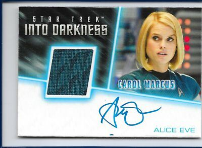 2017 STAR TREK BEYOND / INTO DARKNESS Alice Eve Autograph + Costume Relic Card
