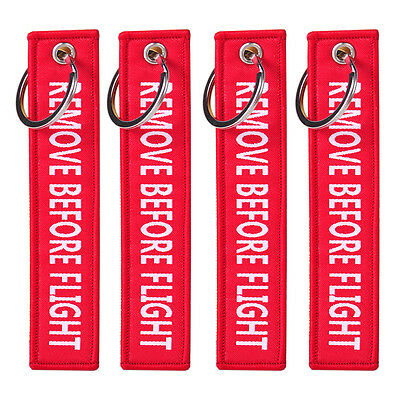 4Pc Red REMOVE BEFORE Flight Embroidered Canvas Luggage Tag Label Key Chain HOT