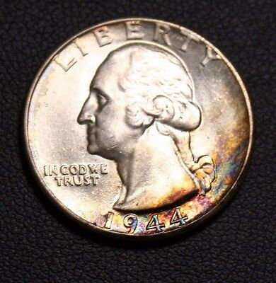 1944 TONED TONING COLOR George Washington Silver Quarter -PRICE REDUCED-