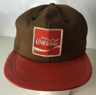 Vintage Coca Cola Hat Cap Delivery Driver Patch Leather Brim Made In USA Enjoy