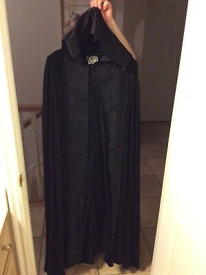 Vintage satin and brocade long beautiful witch cape,with large hood.
