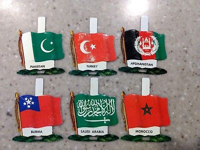 Nabisco International Tin Litho Flags (6) Countries Vintage Unused Tabs