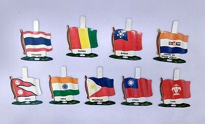 Nabisco International Tin Litho Flags (9) Countries Vintage Unused Tabs