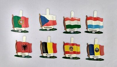 Nabisco International Tin Litho Flags (8) Countries Vintage Unused Tabs