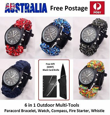 6in1 Paracord SURVIVAL Watch Bracelet FREE CARD KNIFE Sport Outdoor Multi-Tools