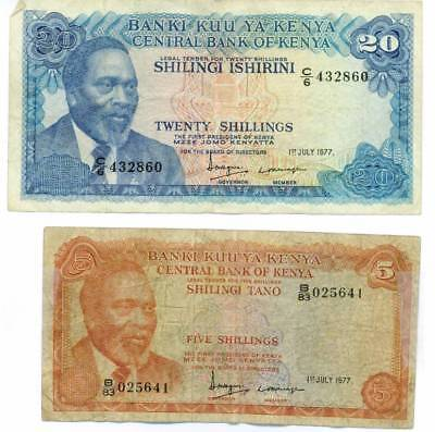 CENTRAL BANK OF KENYA a 20 & 5 SHILLINGS note 1st of July 1977
