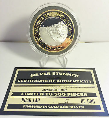 """""""PHAR LAP"""" NEW WITH C.O.A. ONLY 500 Made 43mm """"SILVER STUNNER"""" C/TOR TOKEN a"""