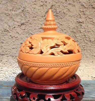 Thai Pottery Vintage Bowl With Lid /jar, Intricately Handcarved Filigree Redware