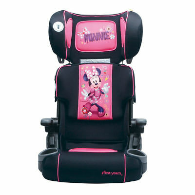 Disney Minnie Mouse Adjustable Folding Car Booster Seat Pink Cup Holders Girl