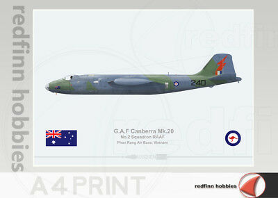 Warhead Illustrated Canberra Mk.20 RAAF 2Sqn 240 Vietnam War A4 Aircraft Print