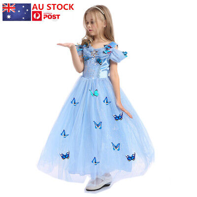Kids Girls Disney Princess Cinderella Dress Fancy Party Costume Cosplay Dresses
