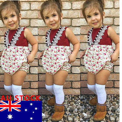 AU Stock Newborn Toddler Baby Girls Outfits lace Floral Romper Jumpsuit  Clothes
